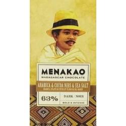 Chocolat au lait 45 % avec cafe Arabica et fleur de sel marin 25gr {attributes}